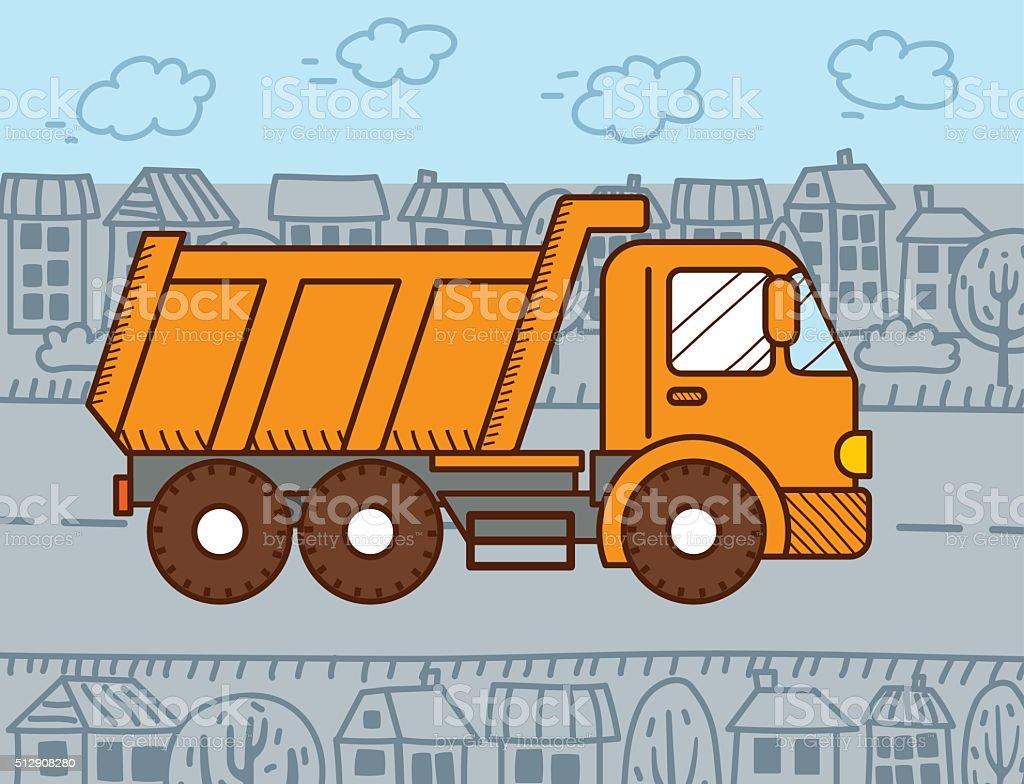 Bauarbeiter bei der arbeit comic  Vektorcomic Kipplaster Vektor Illustration 512908280 | iStock
