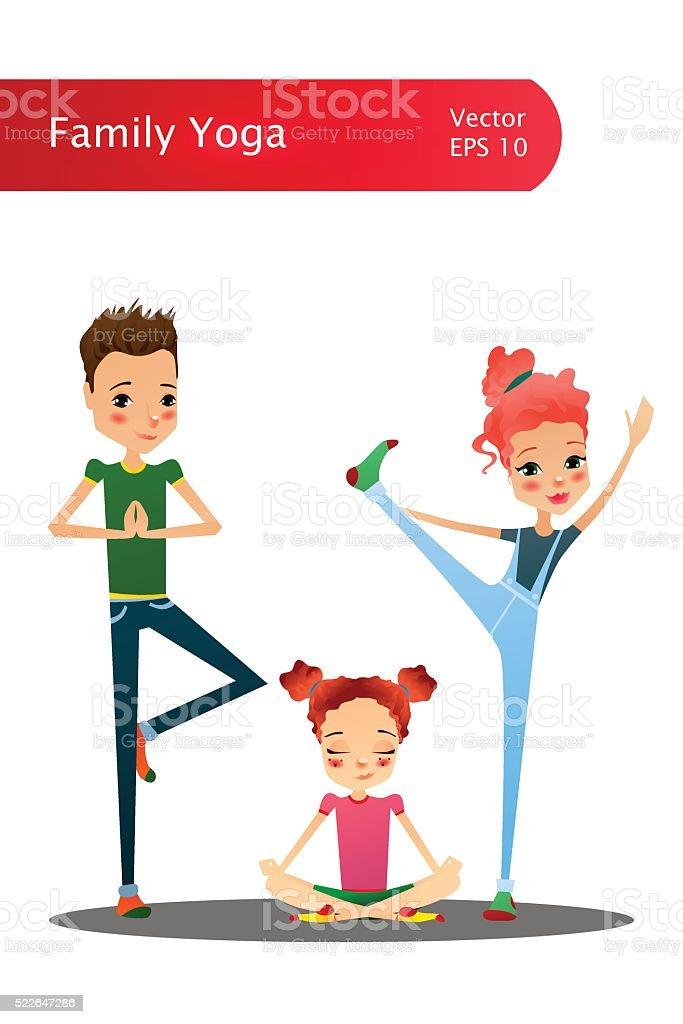 Vector Cartoon Family Yoga Illustration with Cartoon Family Characters vector art illustration