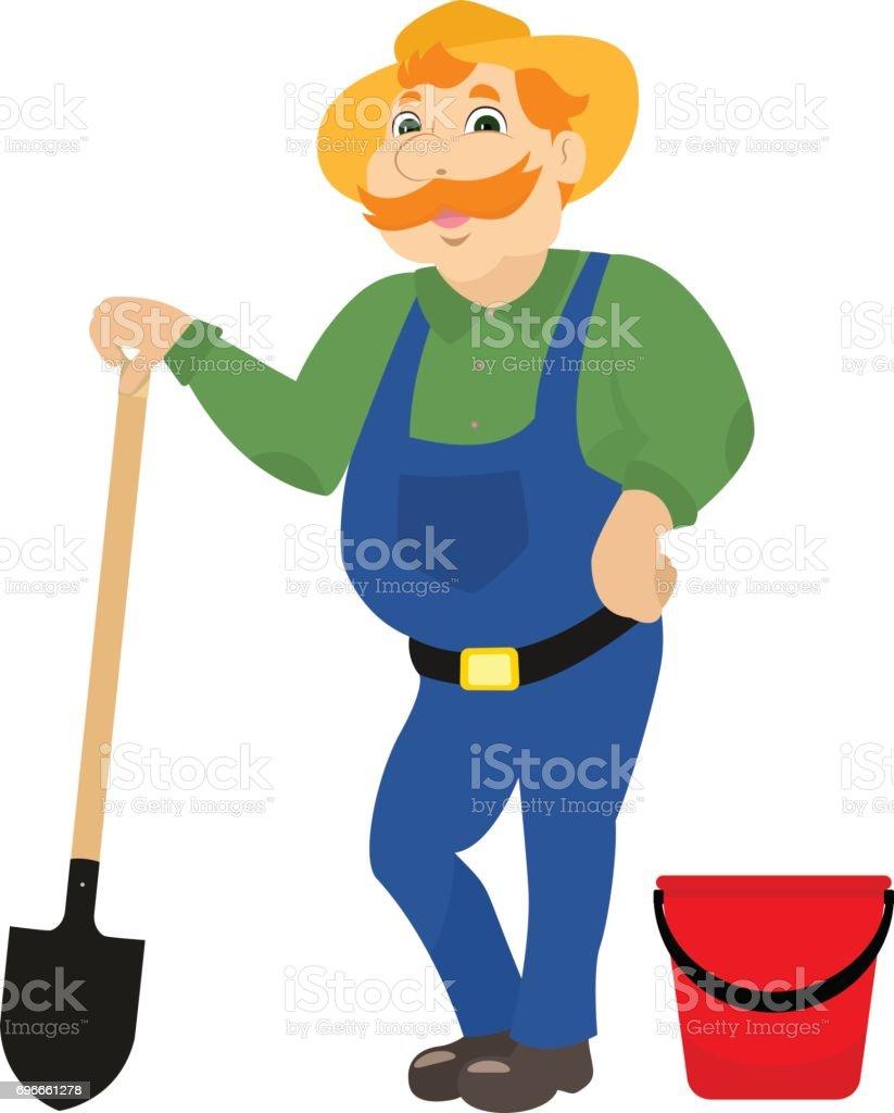Vector cartoon farmer with shovel bucket vector art illustration