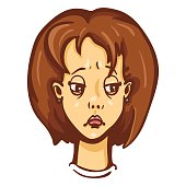 Vector Cartoon Female Character Emotion. Sad Woman