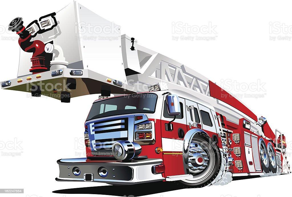 Vector Cartoon Fire Truck royalty-free stock vector art