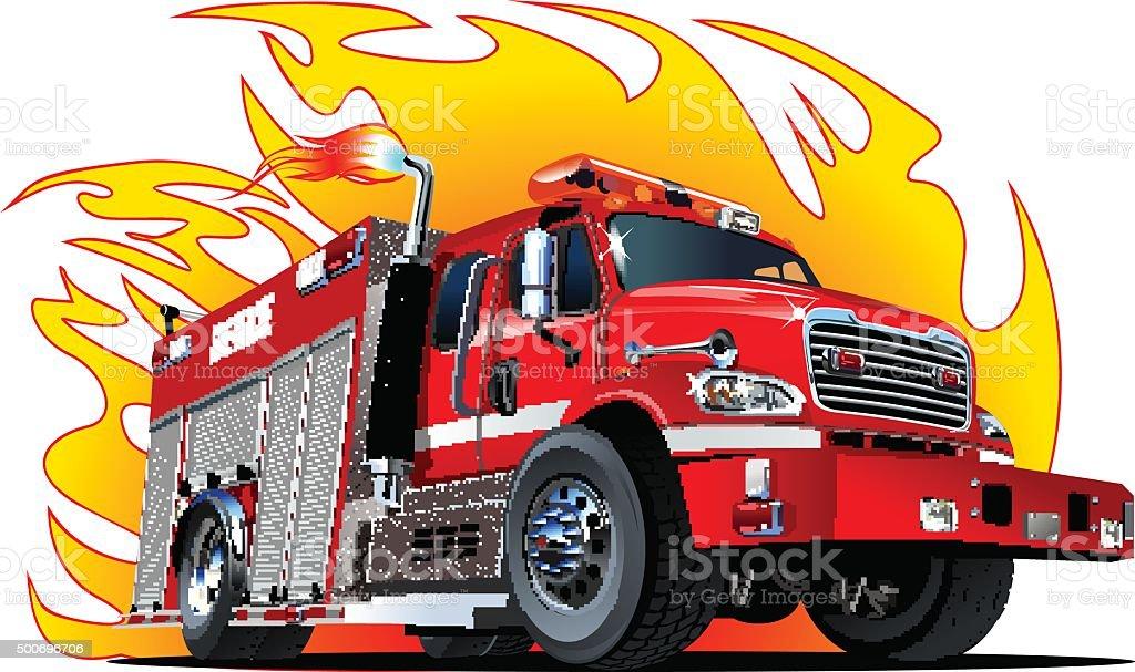Vector Cartoon Fire Truck vector art illustration
