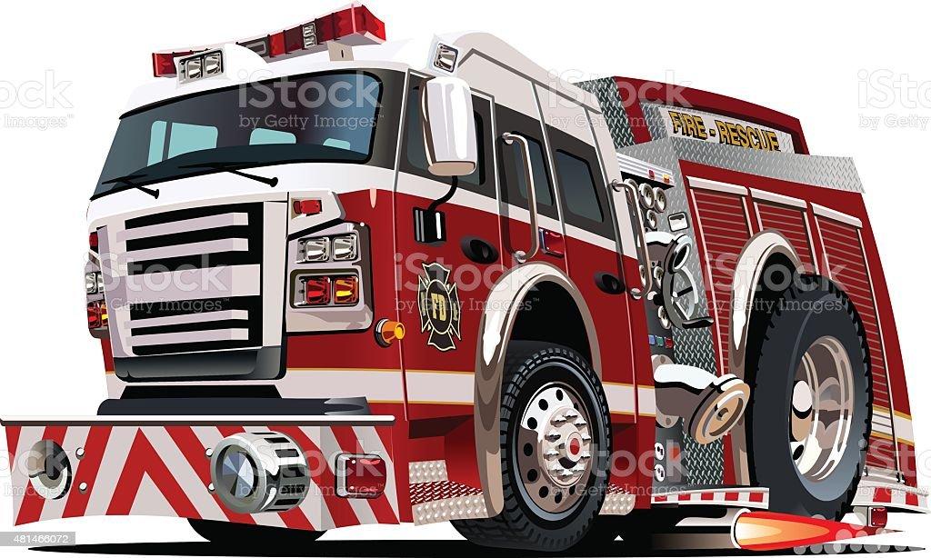 Vector cartoon firetruck vector art illustration