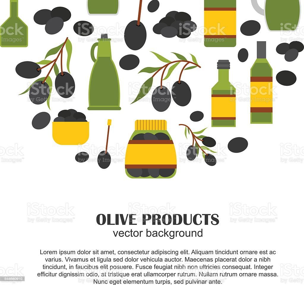 Vector cartoon flat olive oil background vector art illustration