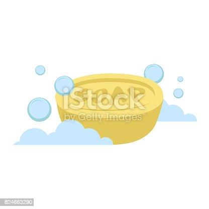 벡터 만화 평면 스타일 노란 타원형 비누 벡터 아이콘 파란 ...