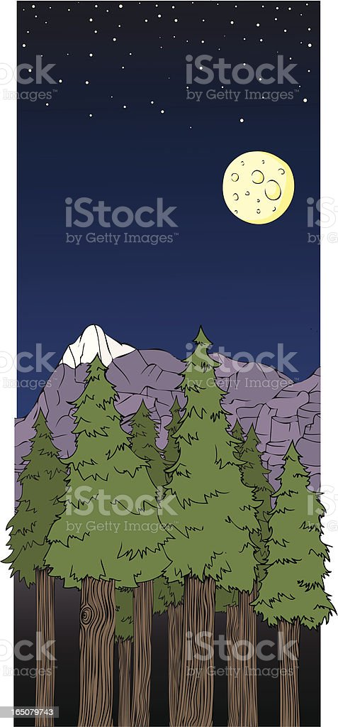 Vector Cartoon Forest Environment and Night Sky royalty-free stock vector art