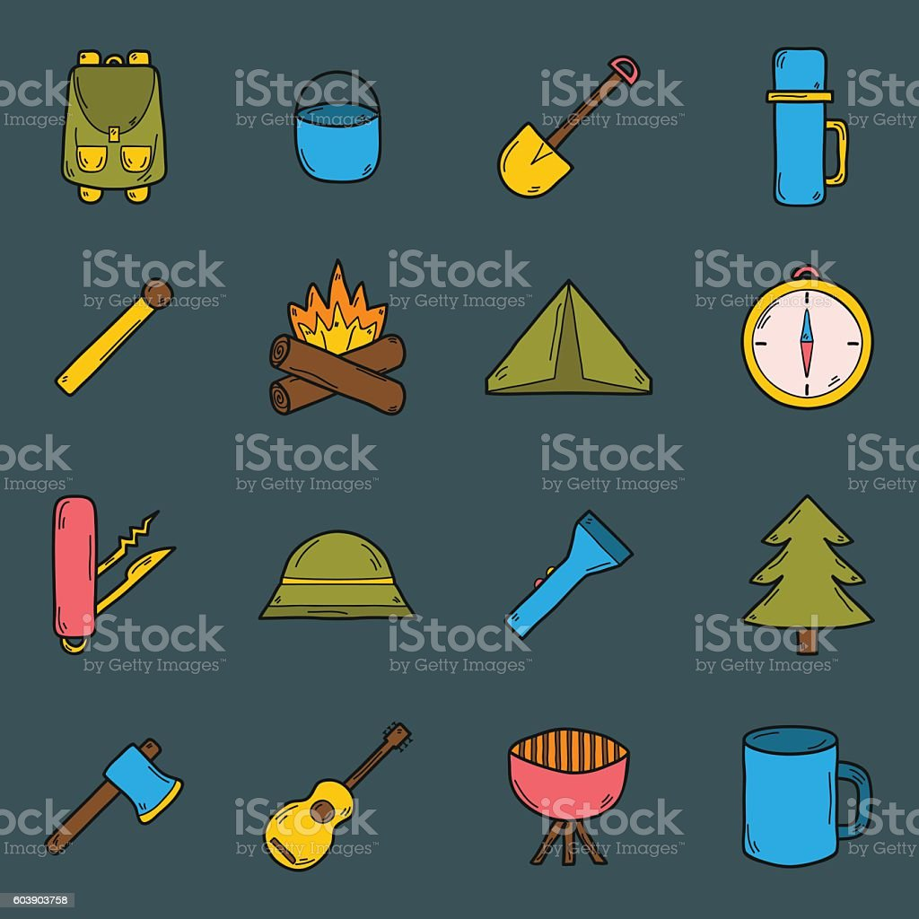 Vector cartoon hand drawn camping icons vector art illustration