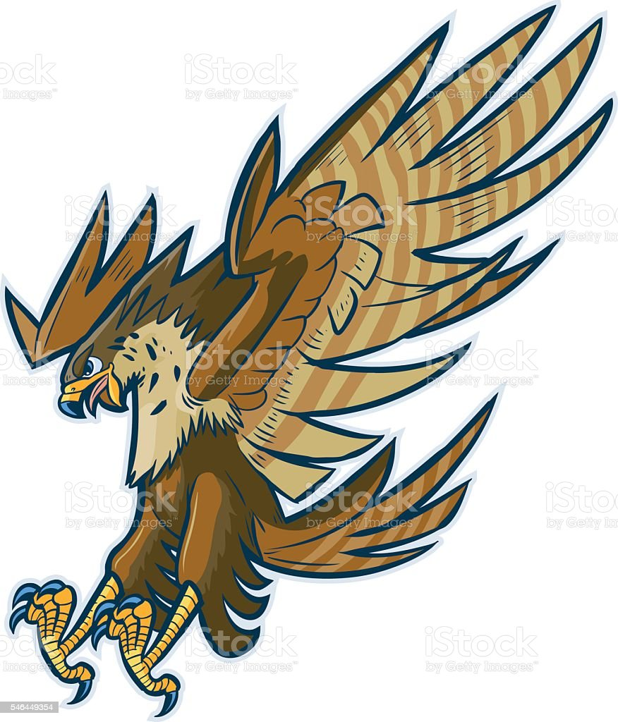 Vector Cartoon Hawk Eagle or Falcon Diving or Swooping vector art illustration