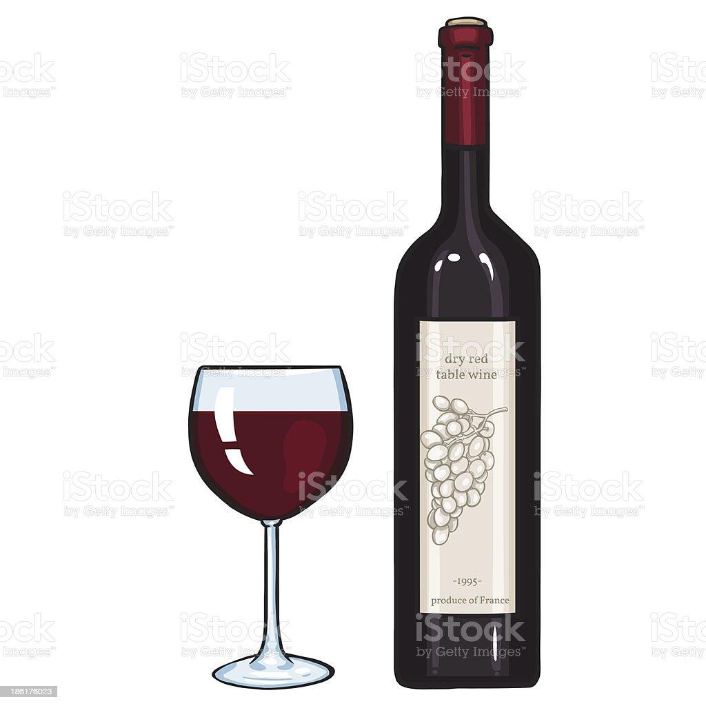 vector cartoon illustration: glass and bottle of red wine vector art illustration