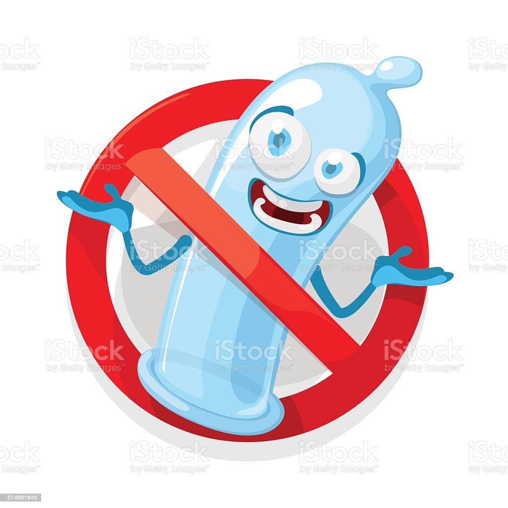 Vector cartoon illustration of a condom mascot character vector art illustration