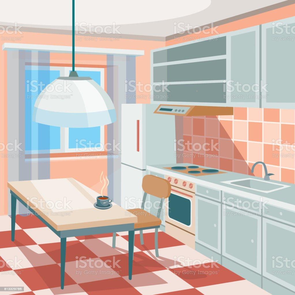 Vector Cartoon Illustration Of A Kitchen Interior With Kitchen