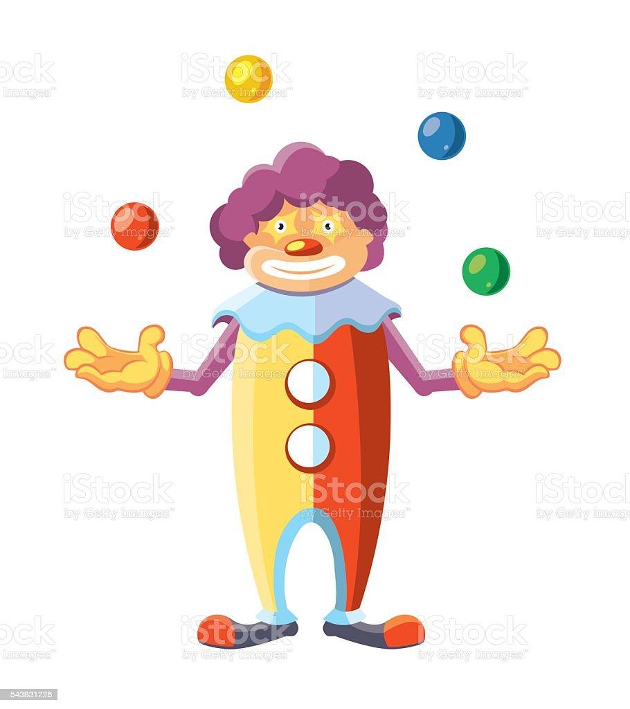 Vector cartoon illustration of cute clown on white background. vector art illustration
