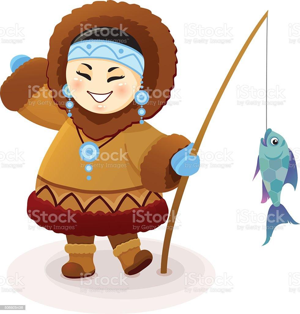 Vector cartoon illustration of funny Eskimo fishing girl vector art illustration