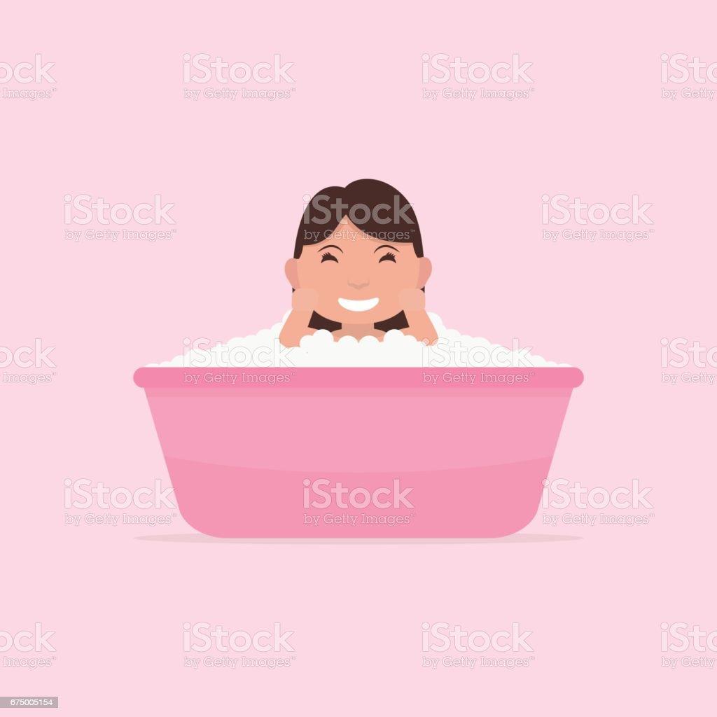 Vector cartoon little baby bathes in a small bath vector art illustration
