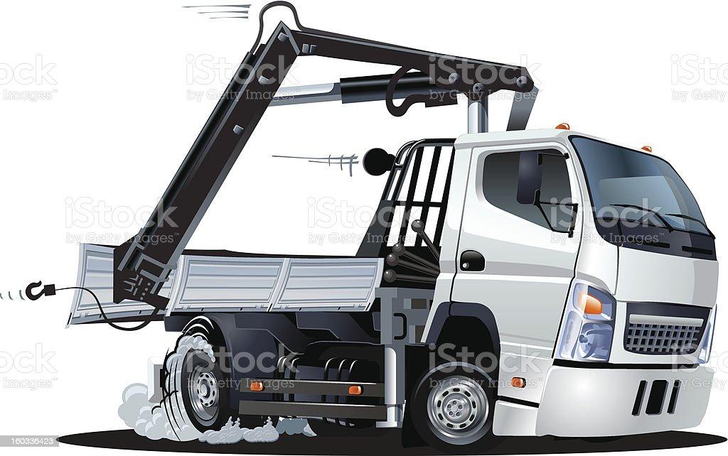 Vector Cartoon Lkw Truck with Crane royalty-free stock vector art