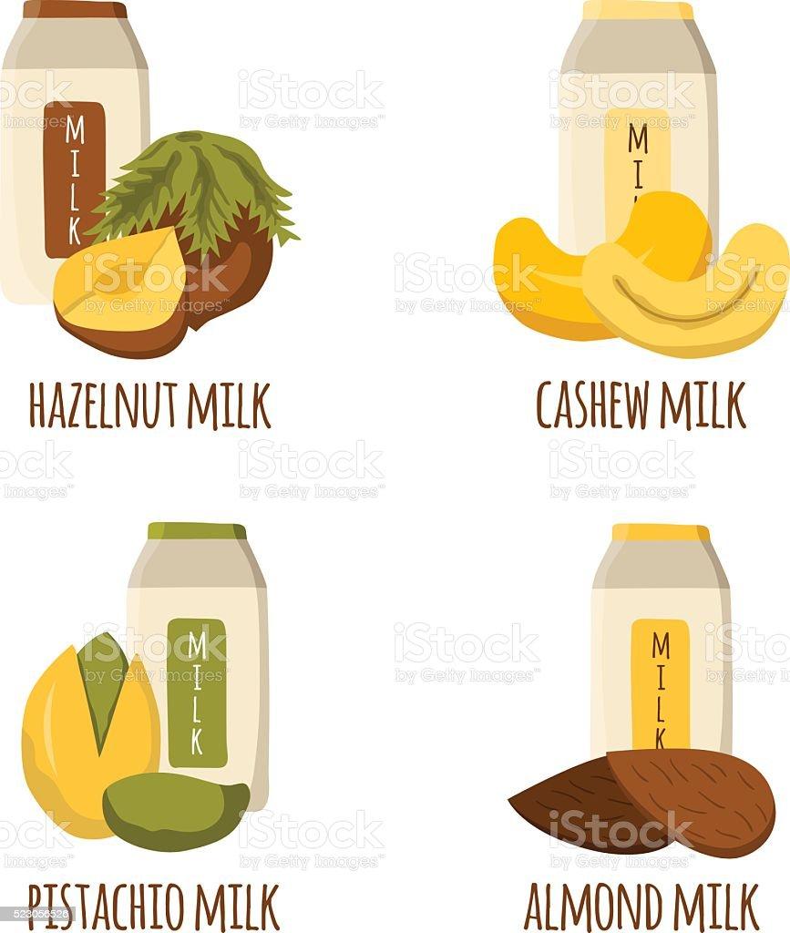 Vector cartoon nuts milk vector art illustration