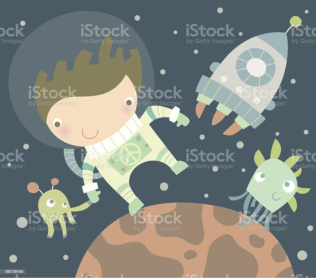 Vector cartoon of a man in space with a spaceship and aliens vector art illustration