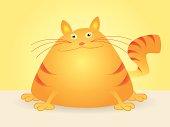Vector Cartoon of Fat Cat Sitting