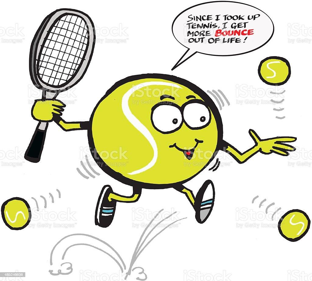 Vector cartoon of funny tennis ball holding racquet vector art illustration