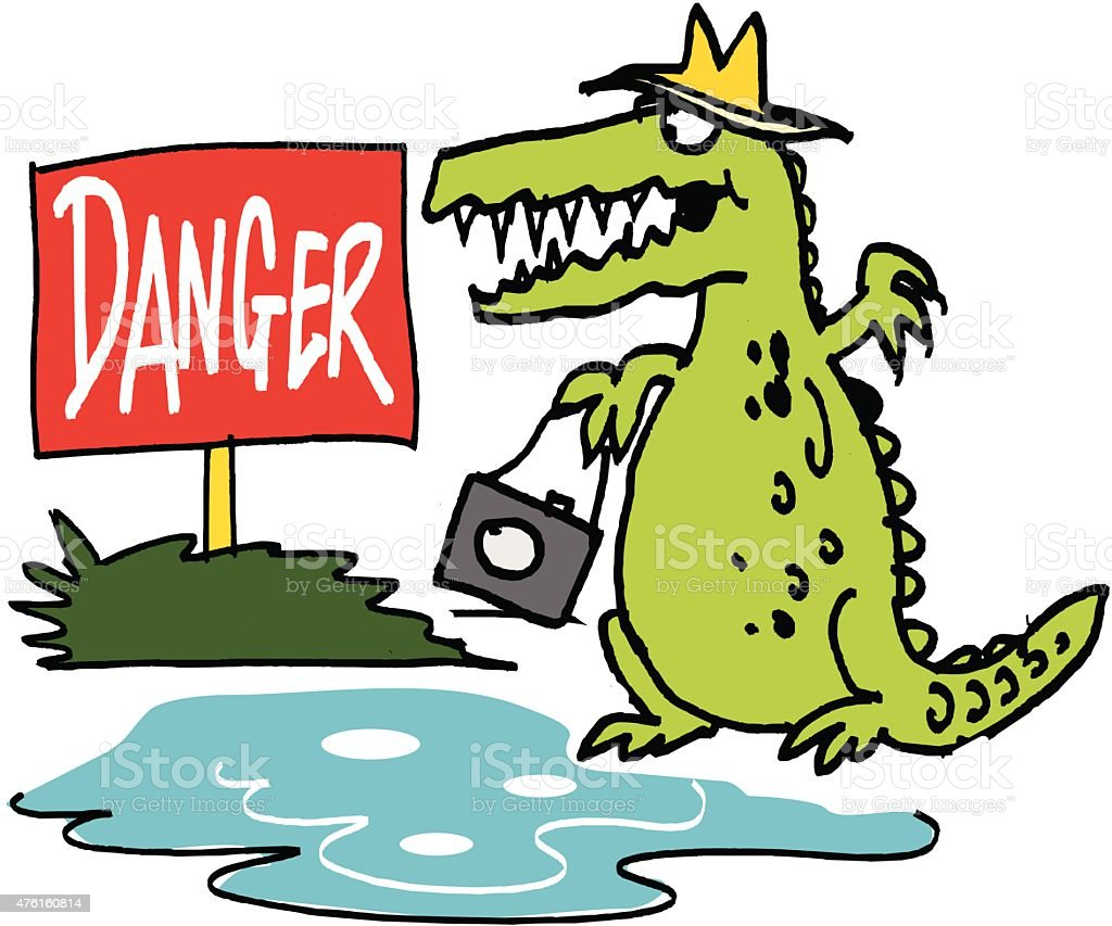 Vector cartoon of hungry crocodile holding camera vector art illustration
