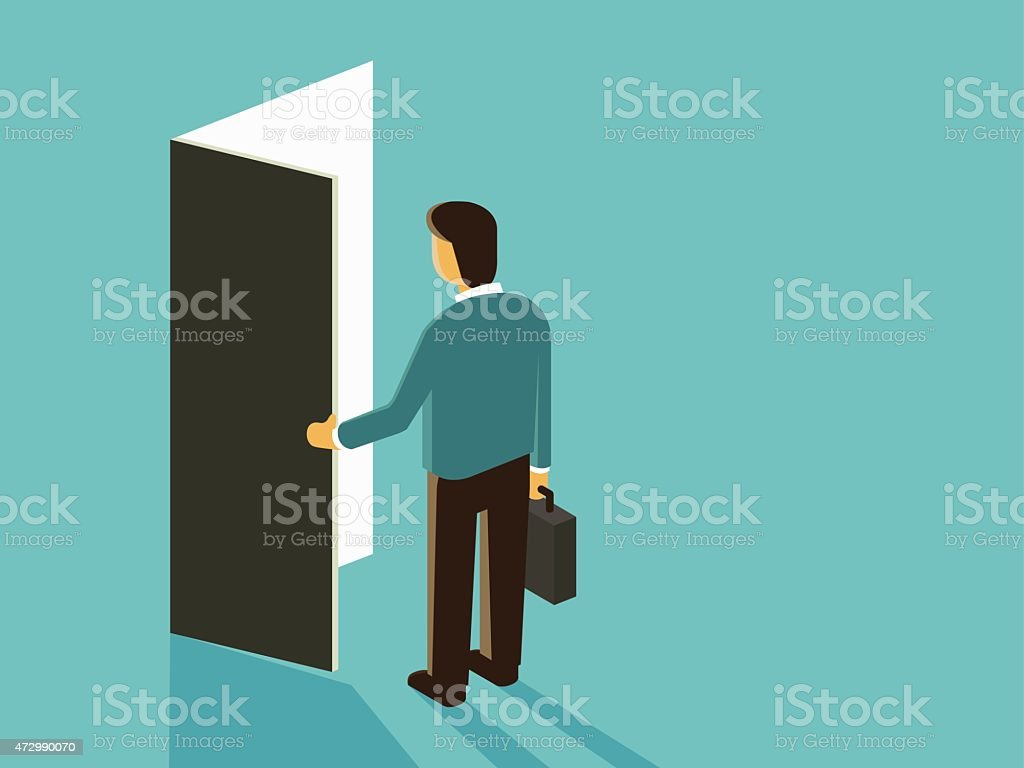 Vector cartoon of man with briefcase opening a door vector art illustration