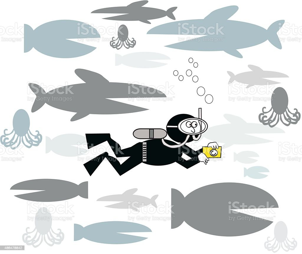 Vector cartoon of skin diver with fish. vector art illustration