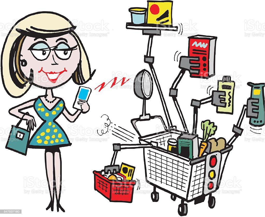 Vector  cartoon of woman with robot shopping cart vector art illustration