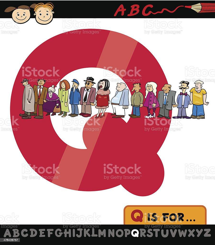 Vector cartoon queue on Q, child education royalty-free stock vector art