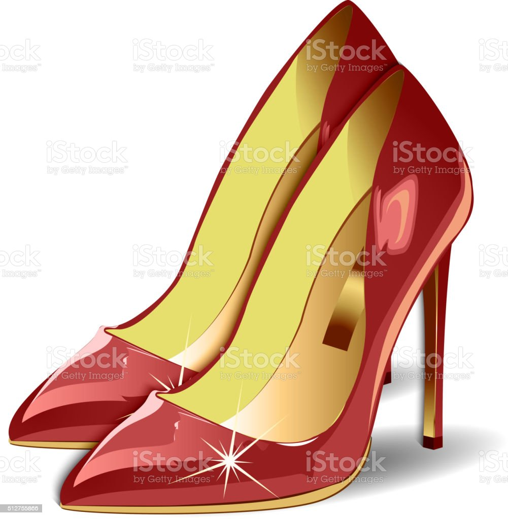 Vector Cartoon Red Women Shoes on white background. EPS vector art illustration