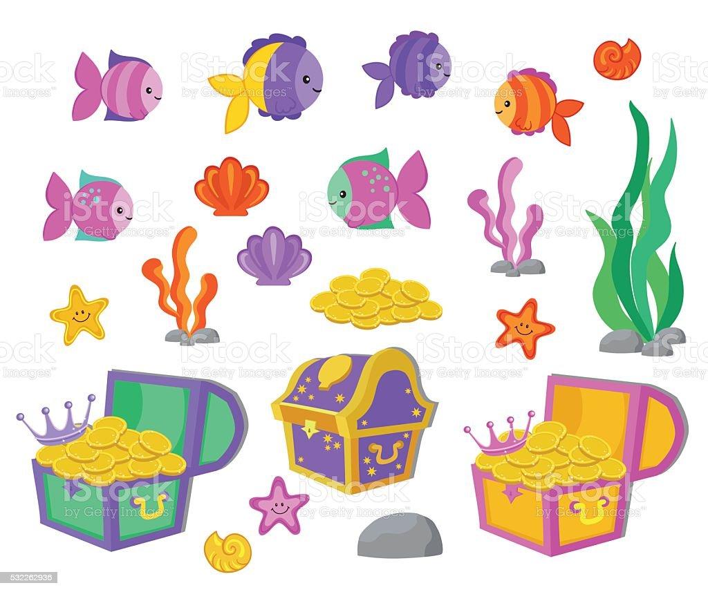 Vector cartoon set of design elements undersea world, aquarium. vector art illustration