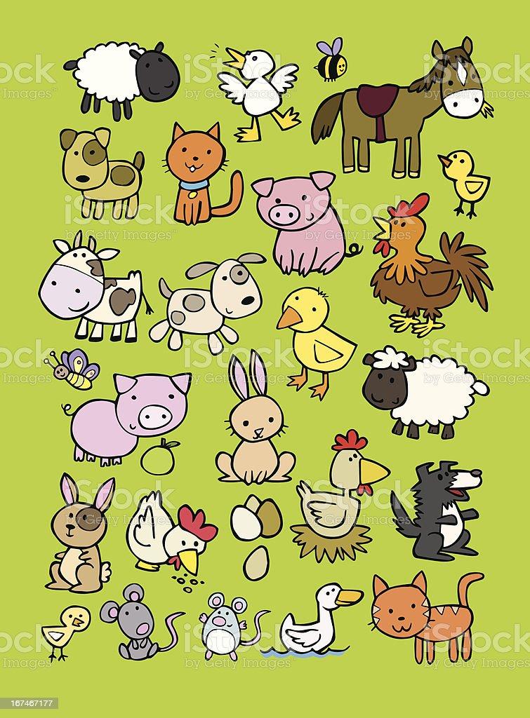 Vector cartoon set of farm animals vector art illustration