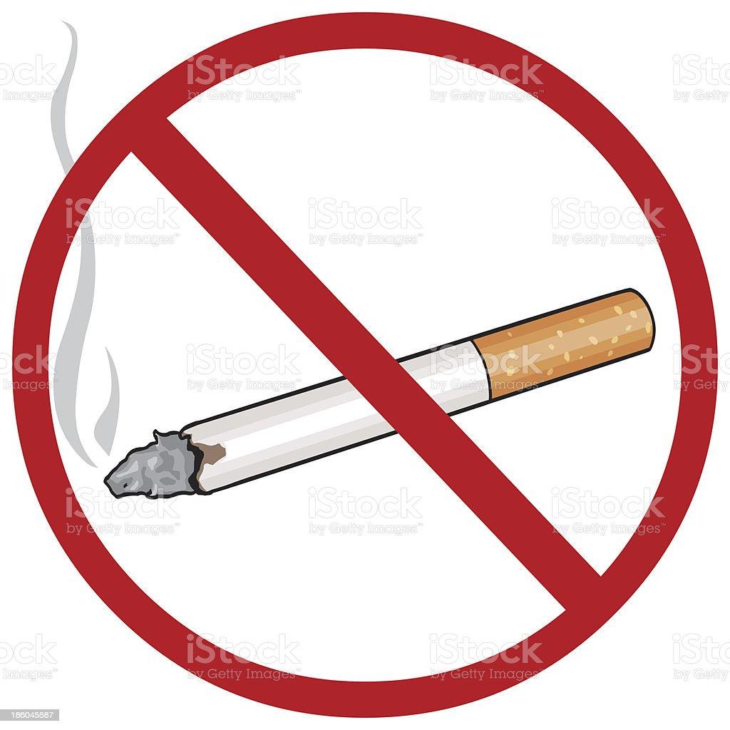 vector cartoon sign: no smoking vector art illustration