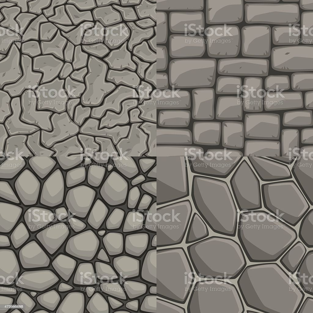 Vector cartoon stone wall seamless texture collection vector art illustration
