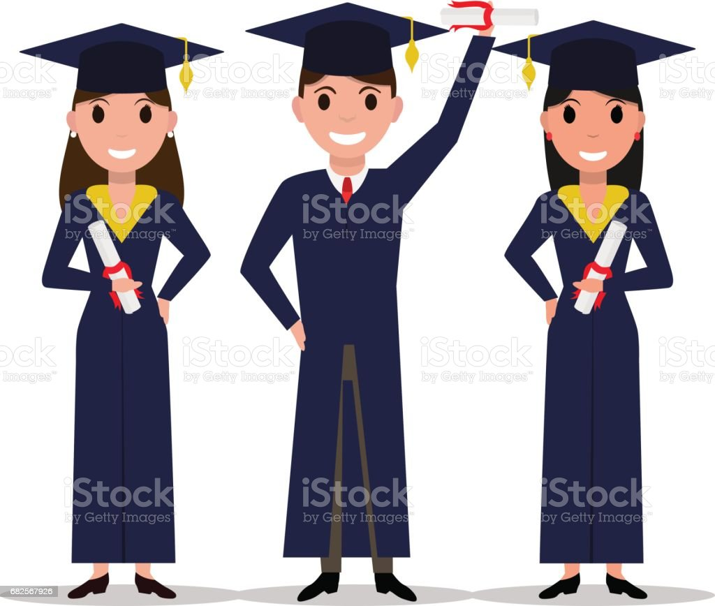 Vector cartoon student girl, boy graduate vector art illustration