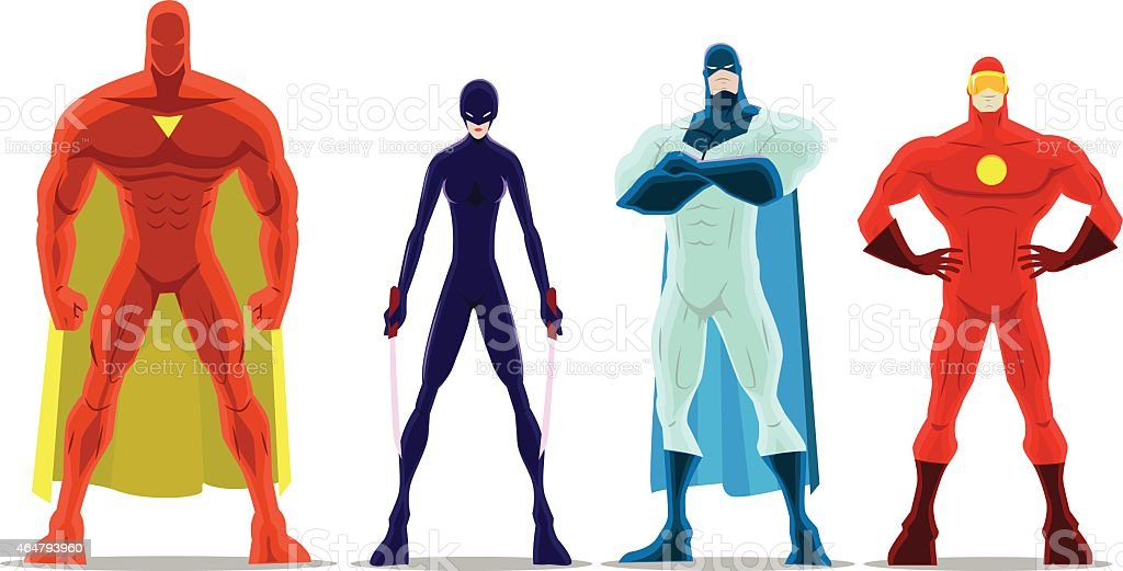 Vector Cartoon Superheroes Pose vector art illustration