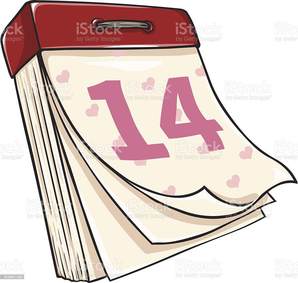 Vector Cartoon  Tear-off Calendar. Febrary 14. Valentines Day vector art illustration