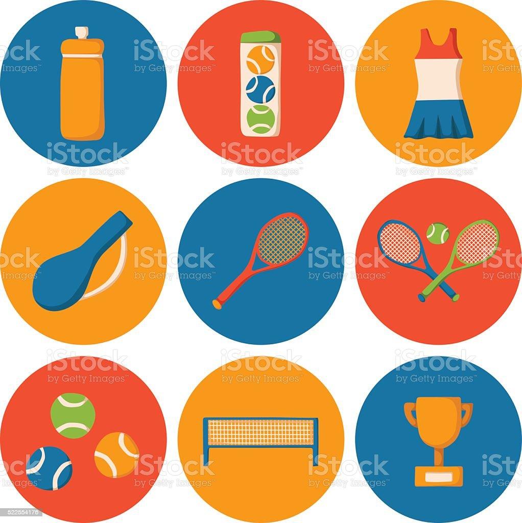 Vector cartoon tennis icons vector art illustration