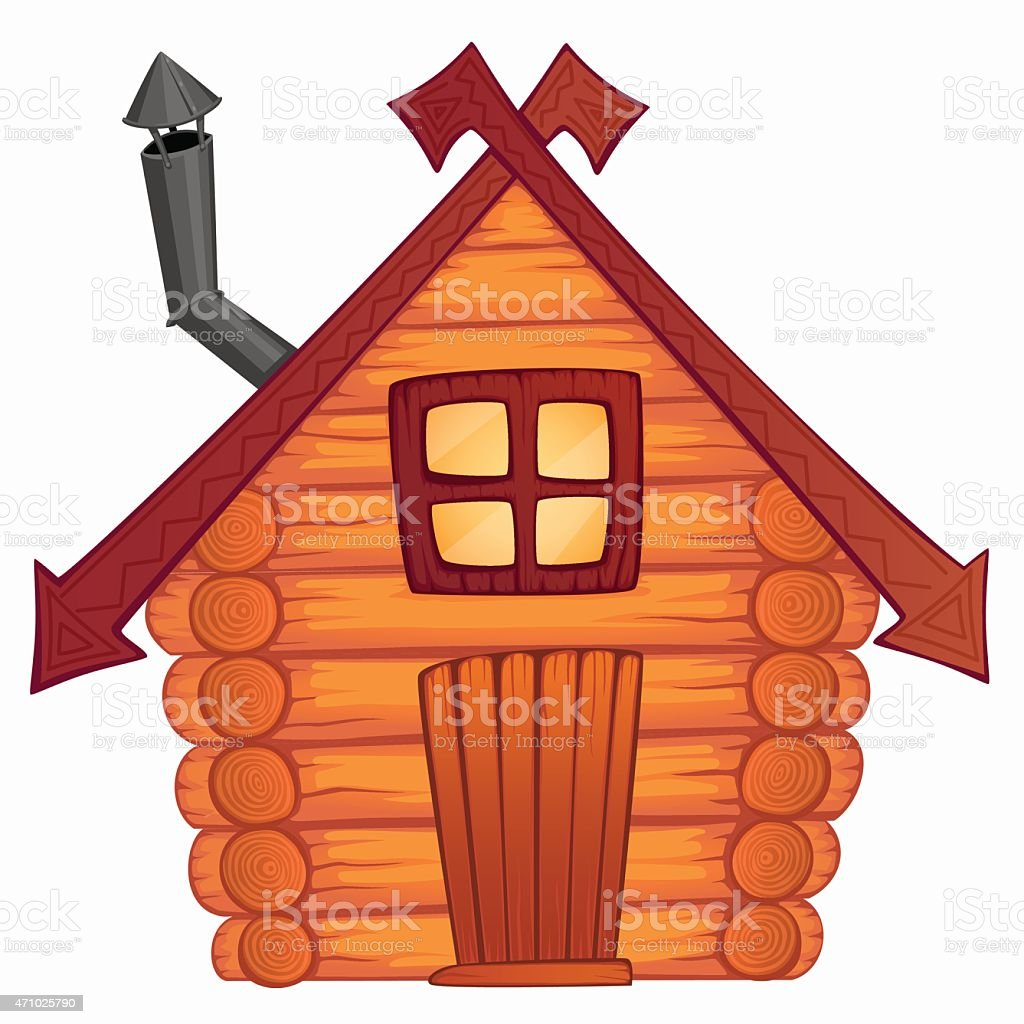 Vector cartoon wooden little shack vector art illustration