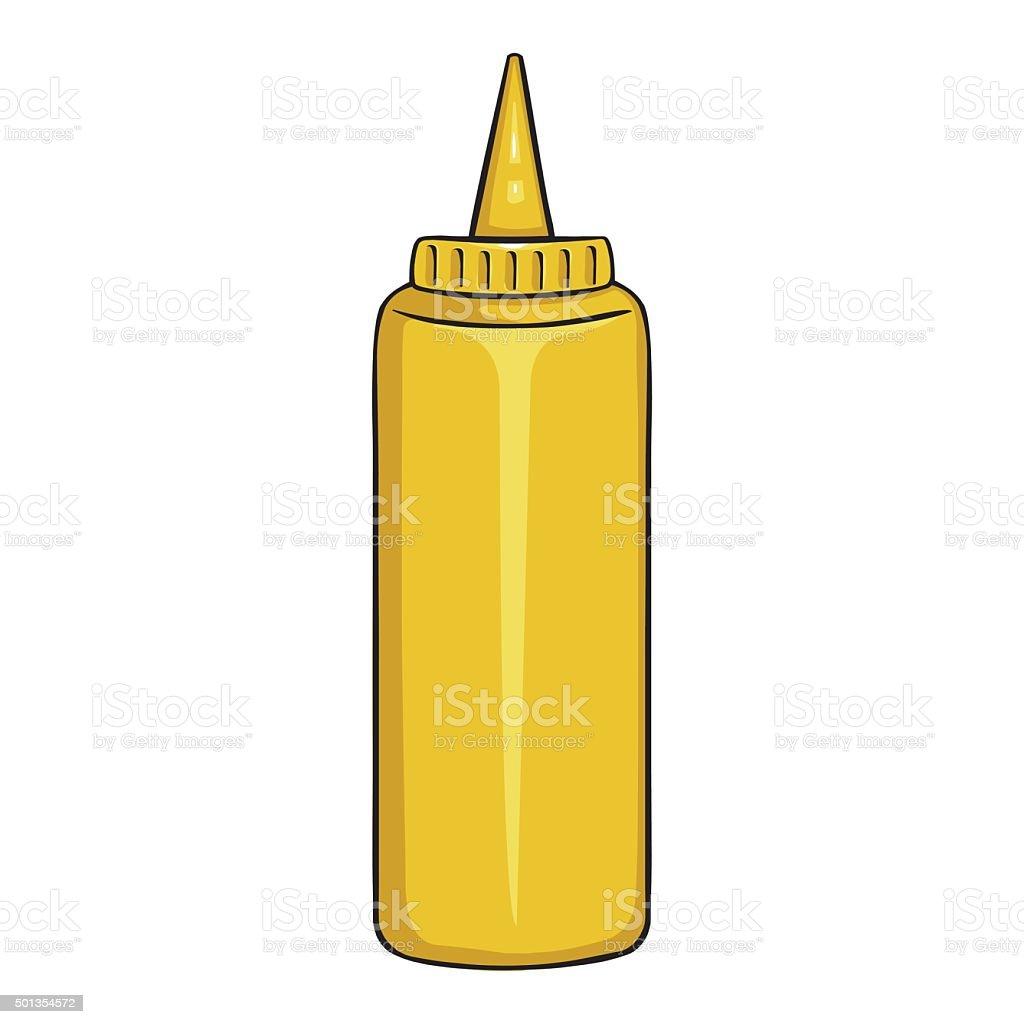 Vector Cartoon Yellow Plastic Bottle with Mustard vector art illustration