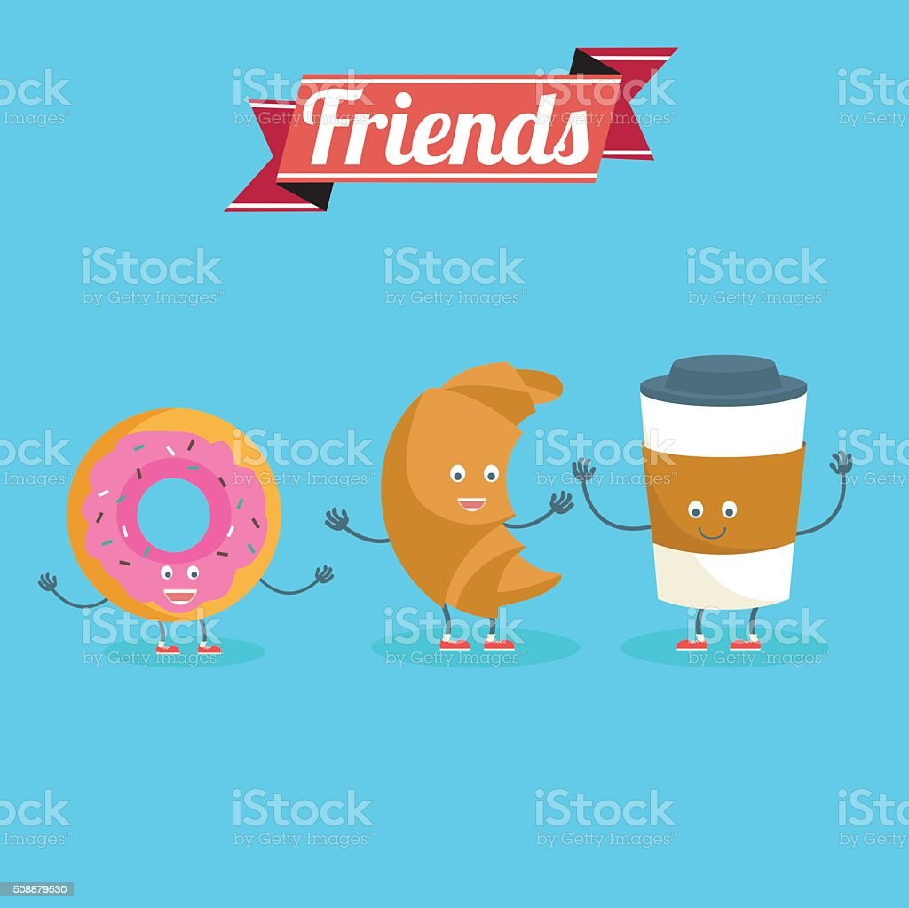 Vector cartoons of comic characters coffee, donut  and croissant. vector art illustration