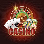 Vector casino card on red background