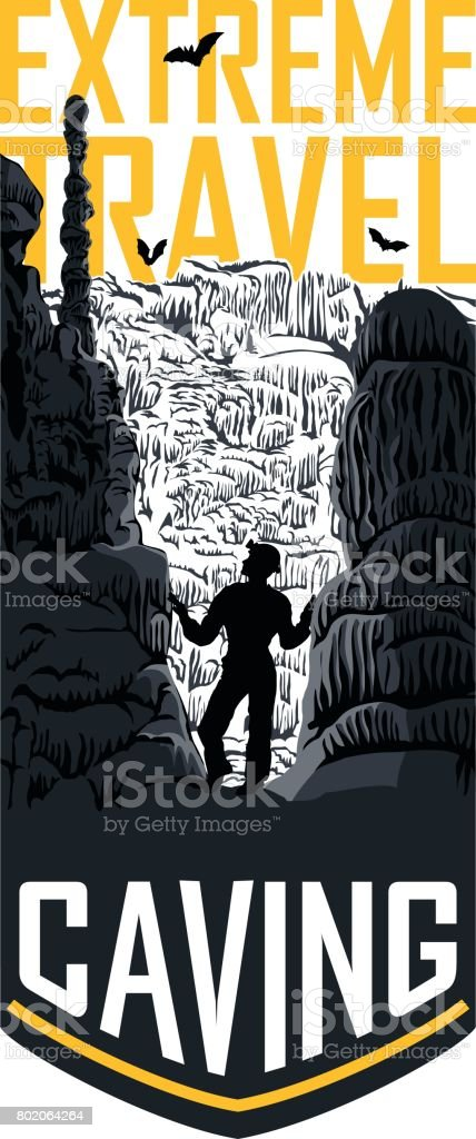 vector caving travel flayer template illustration vector art illustration