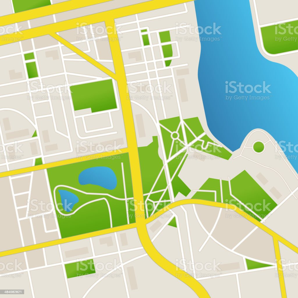 Vector cbstract city map and river vector art illustration
