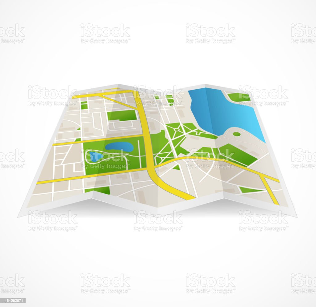 Vector cbstract city map and river royalty-free stock vector art