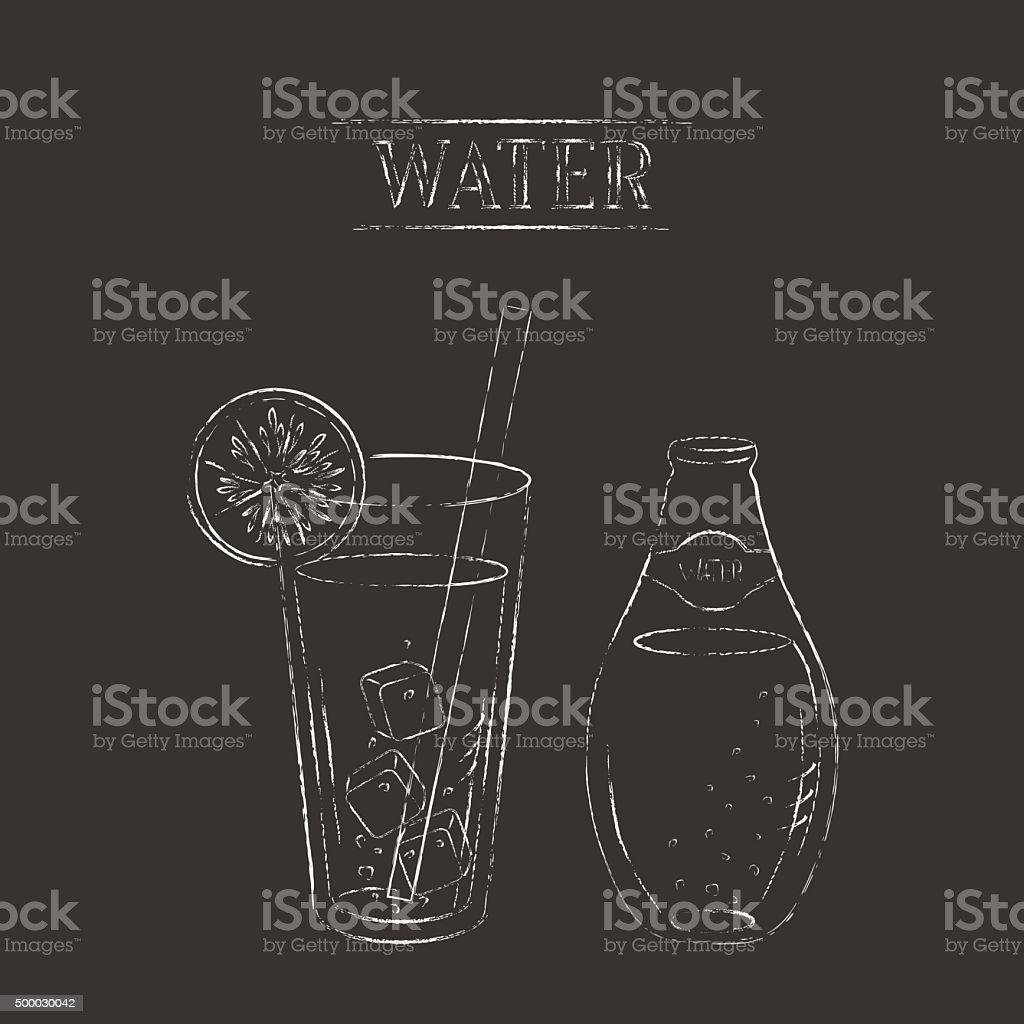 Vector chalk sketch illustration of water bottle and glass vector art illustration