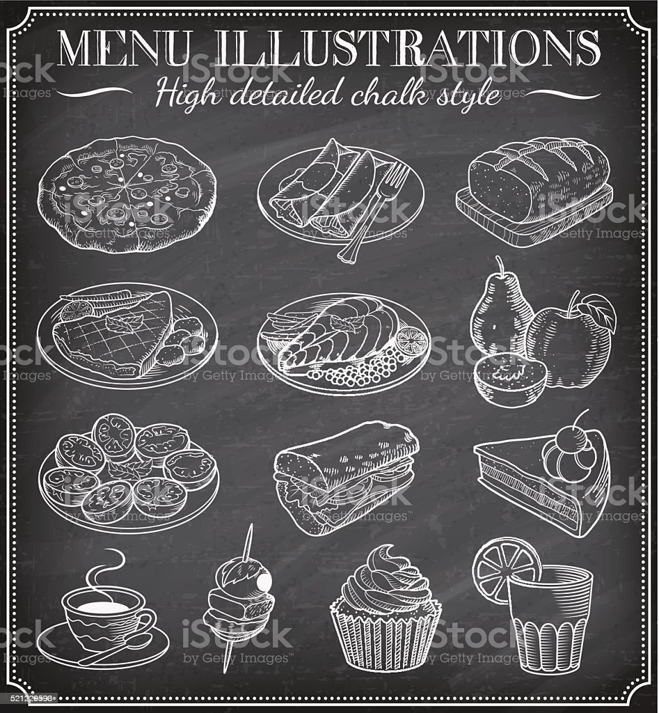 Vector Chalkboard Food Illustrations vector art illustration