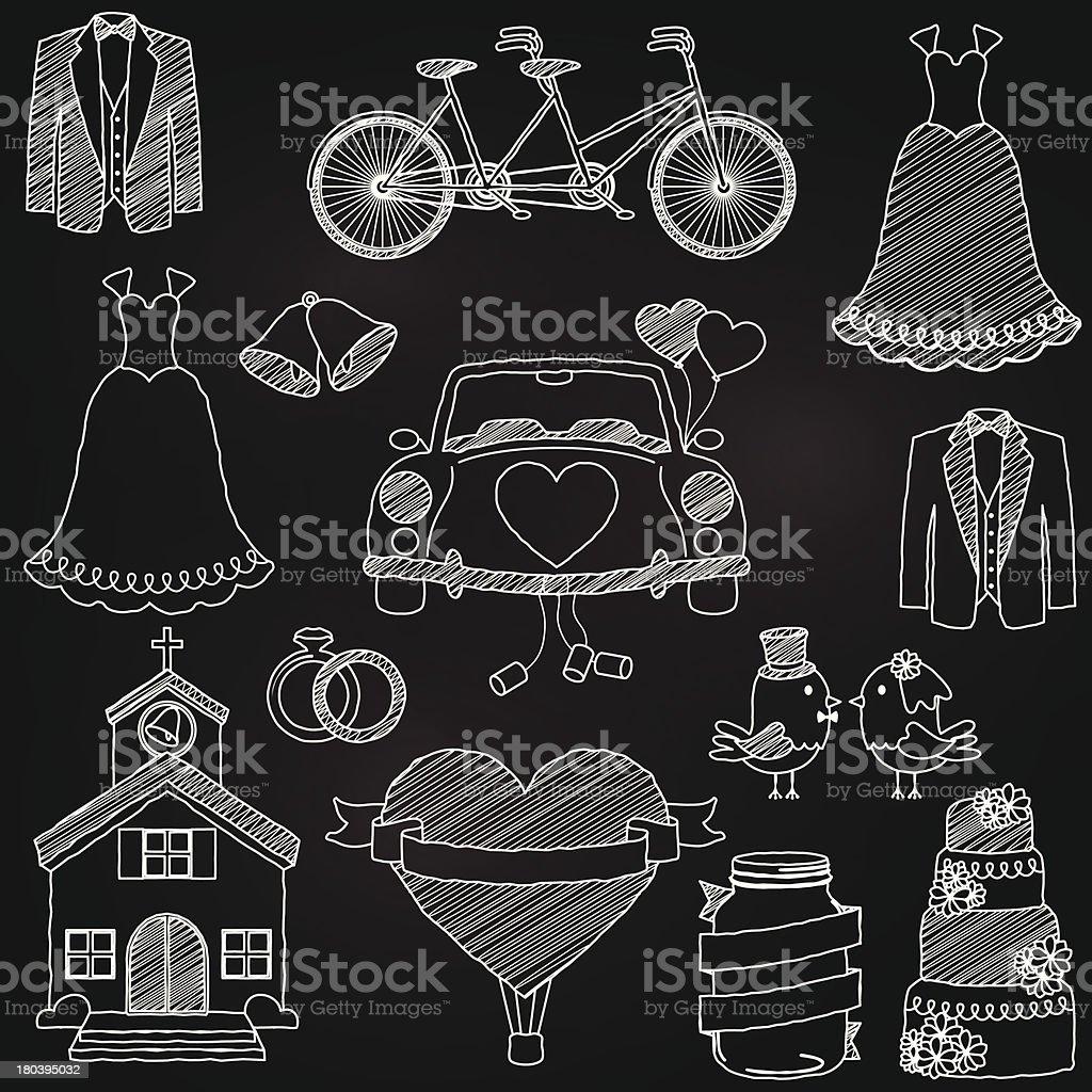 Vector Chalkboard Style Wedding Themed Doodles royalty-free stock vector art