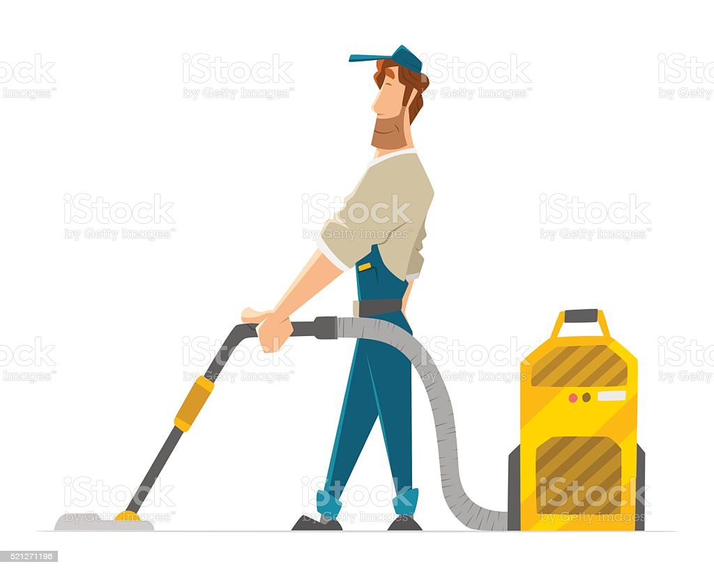Vector character cleaner janitor man vacuum floor holding vacuum cleaner vector art illustration