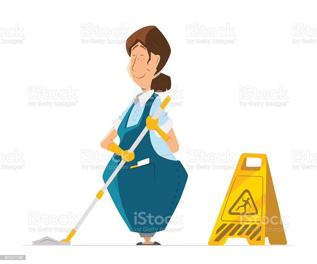 Vector character cleaner lady janitor woman in uniform cleaning vector art illustration
