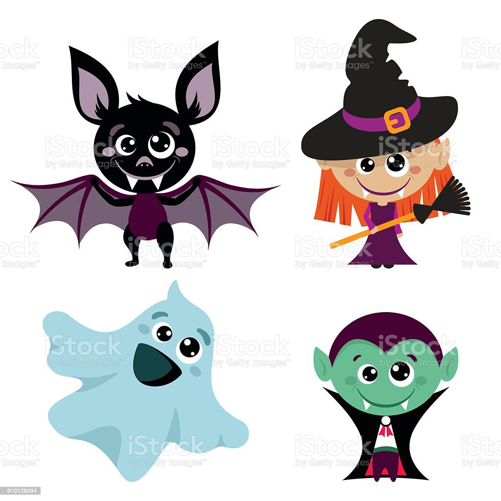Vector characters and icons for Halloween vector art illustration